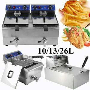 Electric Countertop Deep Fryer Tank Commercial Restaurant Steel W Nozzle To