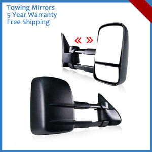 Manual Towing Extended Side Mirrors For 99 02 Chevy Silverado 1500 2500 3500