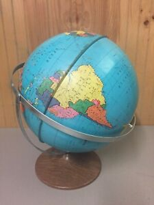 Vintage Ohio Art Tin Lithograph Globe 12 Dual Axis Pre 1967