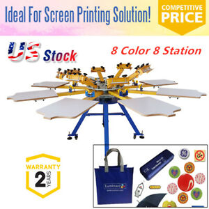 8 Color 8 Station Screen Printing Machine Press T shirt Printer Equipment Diy Us