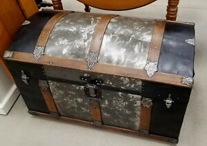 Beautiful Wood Round Top Steamer Trunk 1890 S Fully Restored Crystallized Metal