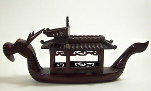 Vintage Carved Rosewood Dragon Ship Boat Wood Orange Stone Eyes Ornate Detail