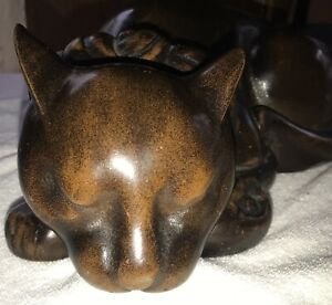 Vintage Japanese Metal 12 Sleeping Cat Statue Bronze Finish Figure Zinc Heavy