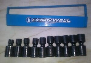 Cornwell 10pc 3 8 dr 10 19mm Swivel Impact Socket Set W Rail Tsmup2210rs Usa
