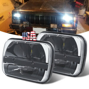 Pair 105w 5x7 7x6 Rectangle Led Hi Lo Beam Cree Headlights For Chevy Jeep Xj