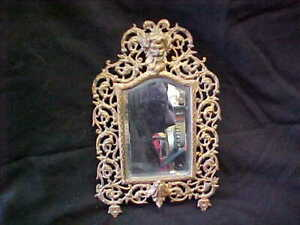 Victorian Cast Iron Old Man In The Wind Wall Mirror W Beveled Glass