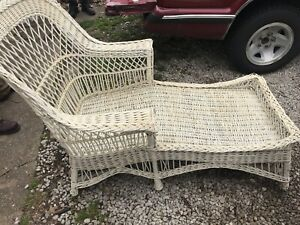 Antique Wicker Chaise Lounge Very Sturdy Compare Condition And Price