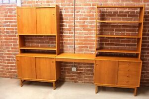Danish Modern Wall Unit With Floating Desk Bookcase Shelving Dresser