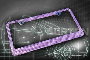 Bling Purple Crystal Diamond Metal License Plate Frame Cap Screw