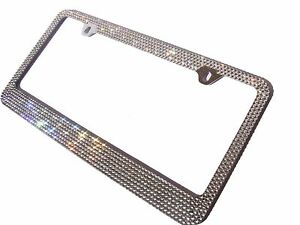 7 Rows Clear White Bling Diamond Rhinestone Metal License Plate Frame