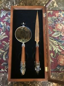 Noble Collection Executive Gargoyle Magnifying Glass And Letter Opener Desk Set