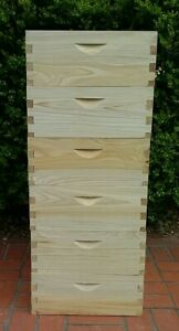 6 Shallow Cypress 10 frame Beehives Honey Supers Lot Of 6 Natural Beekeeping