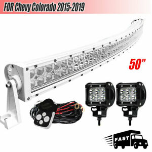 For Chevy Colorado 2015 2019 50 Inch Curved Led Light Bar Combo Beam 4 Pods