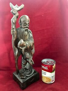 Antique Chinese Rosewood Shouxing Carved Figurine Longevity