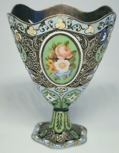 Antique 18th 19th Century Swiss Enamel And Silver Turkish Zarf Egg Cup