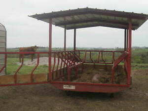 Hay Feeder With Roof Fits 2 Round Hay Bales