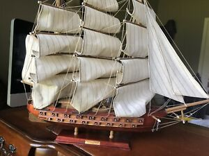 Vtg Handmade Wooden Fragata Espanola Ship Model On Stand Ano 1780 Spanish Boat