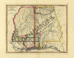 Map Of Mississippi And Alabama Territory C1810s 16x20