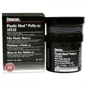 Devcon 10110 Plastic Steel Epoxy Putty Bottle Strength Cure Time Temp 1 Lbs New