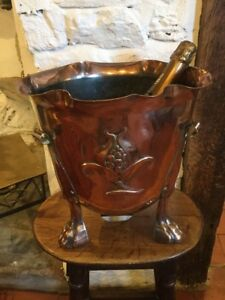 Stunning Copper Art Nouveau Champagne Bucket Planter Reg Mark Arts