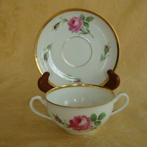 Vintage Dresden Germany Pink Rose W Gold Trim Soup Bowl Cup And Saucer Set