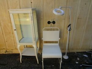 Vintage White Enamel Medical Dental Cabinet Chair Light Magnifier Lot