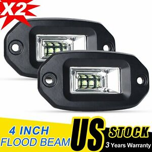 Pair 40w Spot Flood Led Work Light For Jeep Off Road Flush Mounting Lights 4