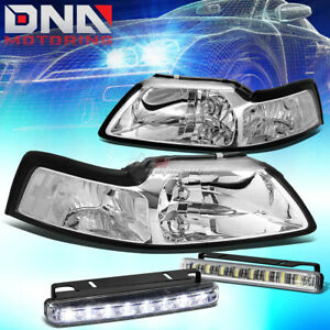 For Mustang 1999 2004 Gt cobra Chrome Housing Clear Corner Head led Fog Light