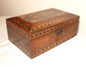 Antique Ornate Handmade Wood Inlaid Marquetry Cigar Humidor Lined Tobacco Box