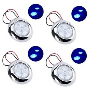 4 Pcs 12v Dc 4 led Puck Light W Stainless Steel Housing Round 3 blue Esa