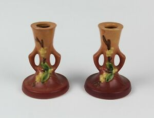 ROSEVILLE ☆ SNOWBERRY Pattern #1CS2 ☆ 4 3 4quot; PINK CANDLESTICK CANDLE HOLDER