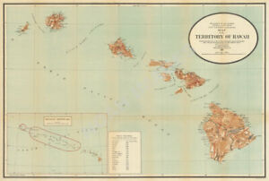 Map Of Territory Of Hawaii C1918 Vintage 30x20