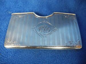 Antique Sterling Silver Curved Card Holder Engraved