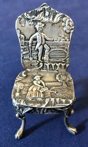 Antique Dutch Sterling Silver Miniature Or Doll House Chair