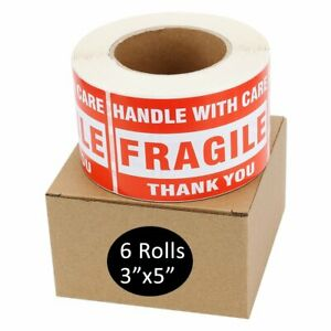 6 Roll Large 3x5 Fragile Stickers Handle With Care Address Mail Shipping Label