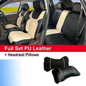 Bk Tan 100 Pu Leather Cushion 5 Seats Front Rear To Suv Truck Van Saden 80255