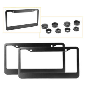2x Black Stainless Steel License Plate Frames With Tag Cover Screw Caps