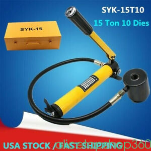 10 Dies 15ton Hydraulic Knockout Punch Driver Kits Hand Pump Hole Tool Case Usa