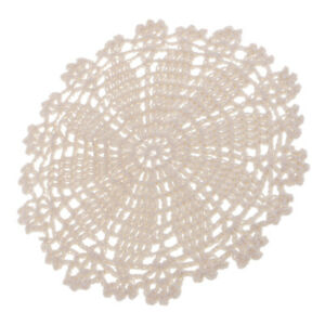 7 Beige Round Crochet Lace Doily Table Placemat Coffee Tea Coaster Cup Mats