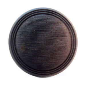 Antique Victorian Czech Metallic Shaded Ribbed Black Glass Button 27mm