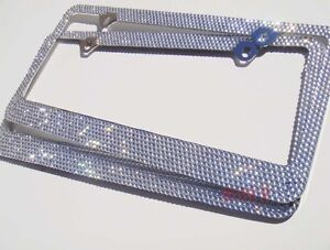 2 X 7 Rows Clear White Bling Crystal Metal License Plate Frame Caps Honda Mazda