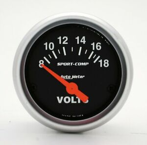 Auto Meter Sport comp 2 Voltmeter 8 18 Volts Short Sweep Electric Sport co 3391