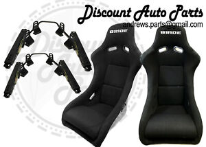 Bride Zeta 2 In Black Low Max Pair Bucket Seats Short Side Mounts And Sliders