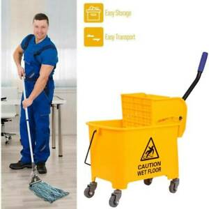 20l Mop Commercial Rubber Bucket Wringer Yellow
