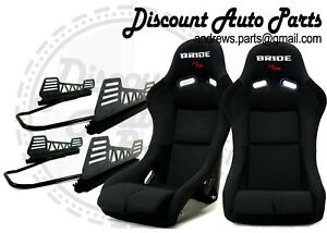 Bride Vios Iii 3 Low Max Black Pair Bucket Seats V2 Long Side Mount Sliders