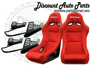 Bride Vios 3 Iii In Red Plain Low Max Pair Of Seats W V2 Long Mount Sliders