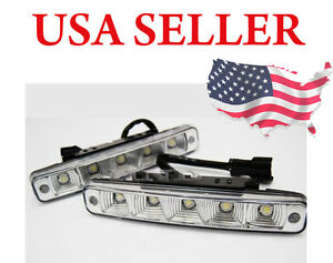 Universal 5 led White Bulb 7 5 Drl Daytime Running Fog Light For Chevy Ford Gmc