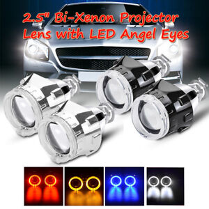 2 5 Led Angel Eyes Halo Hid Bi xenon Projector Lens Kit For H1 H4 H7 Retrofit