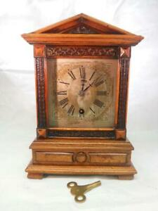 Antique H A C German 8 Day Wooden Timepiece Mantel Clock