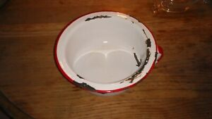 Vintage Child S Chamber Pot Red White Enamelware W Handle